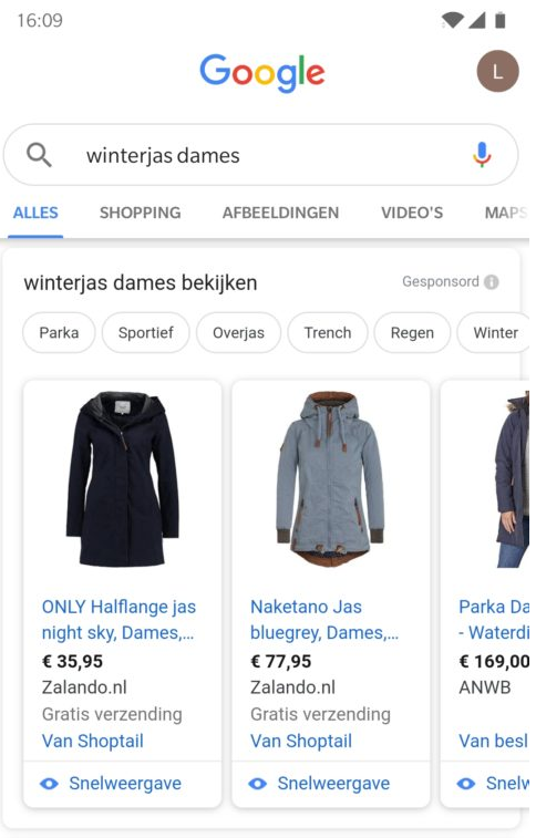Voorbeeld Google shopping advertentie